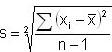 Formel für Standardabweichung